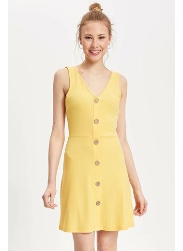 DeFacto Askılı Düğmeli Slim Fit Elbise Sarı